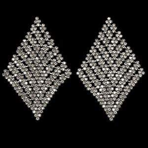 NEW BLING 3 Inch Triangle Crystal Post Earrings